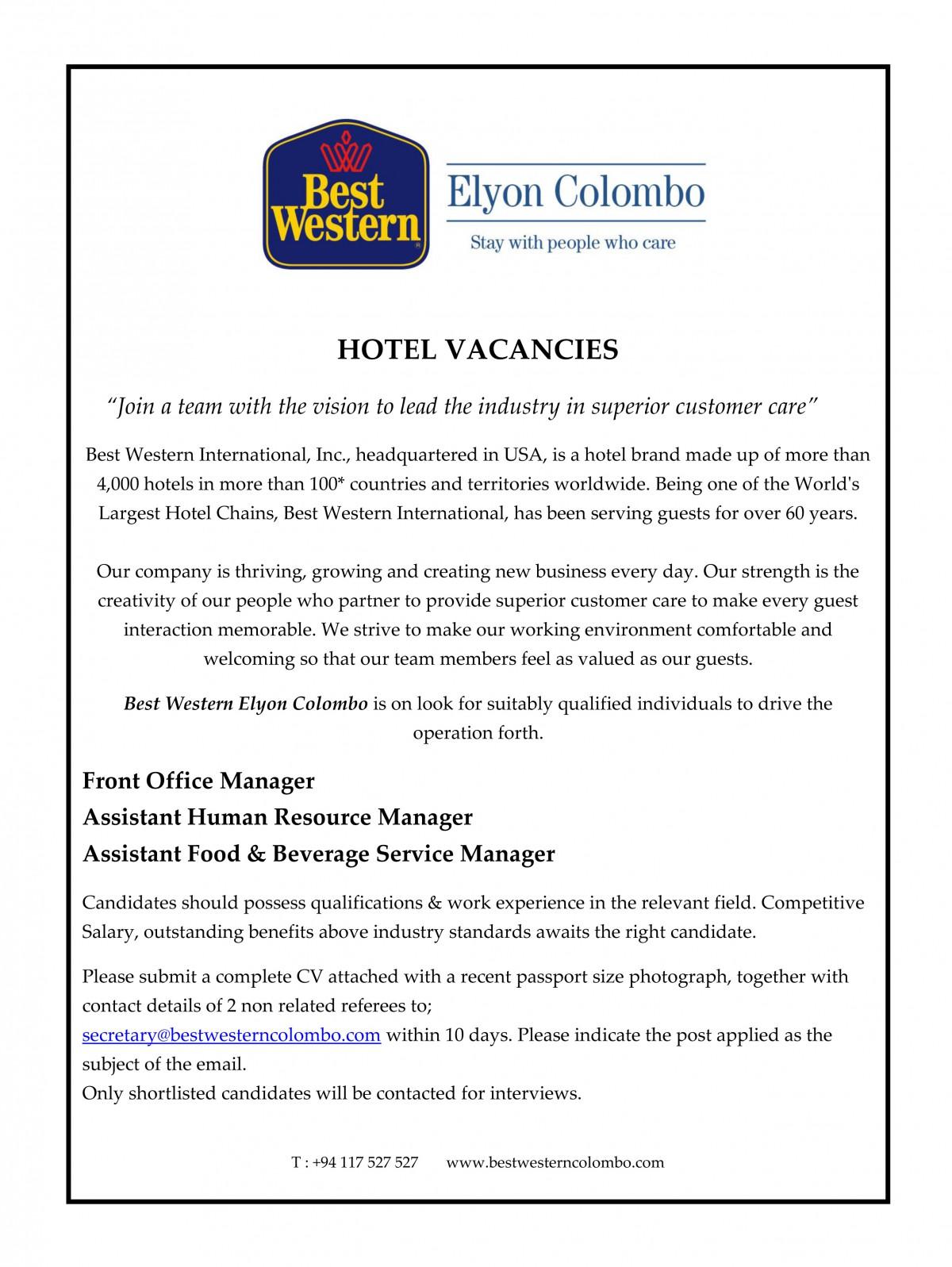 Hotel Vacancies At Best Western Elyon Colombo