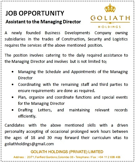 Assistant To The Managing Director Job Vacancy In Sri Lanka