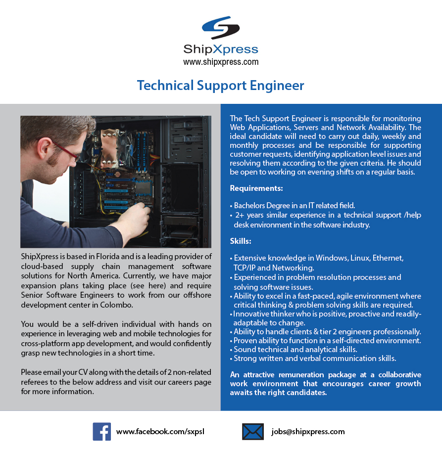 Technical support engineer job vacancy in sri lanka 2 years similar experience in a technical support help desk environment in the software industry extensive knowledge in windows linux ethernet sciox Image collections
