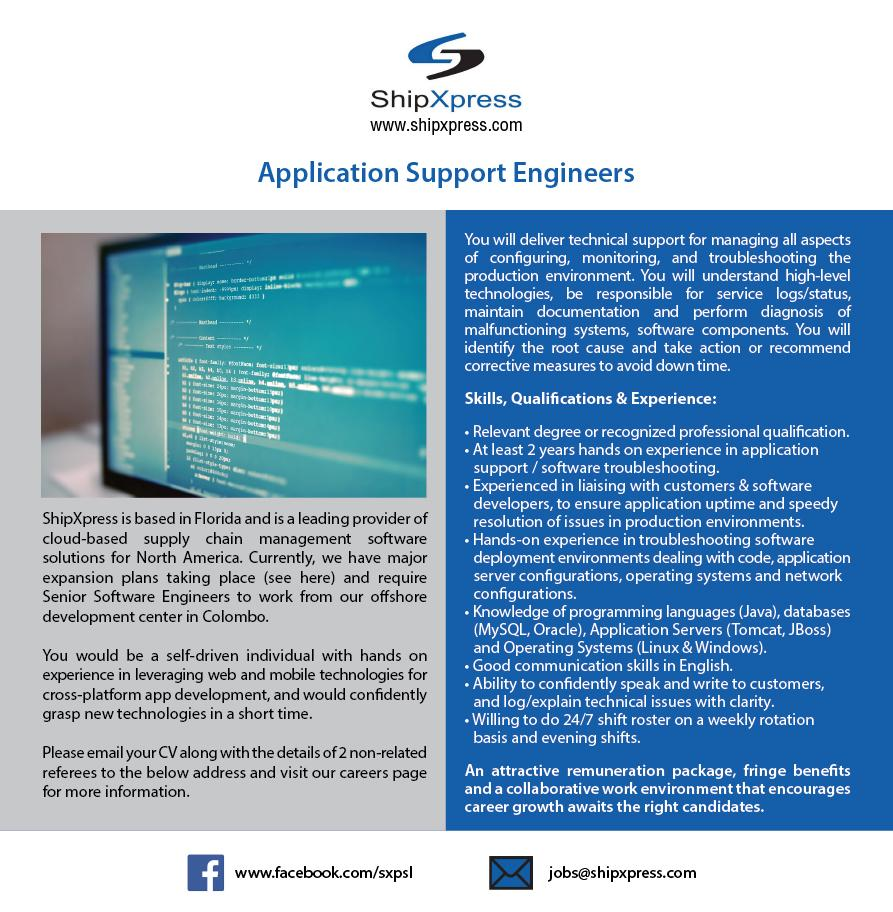 Application Support Engineers Job Vacancy in Sri Lanka