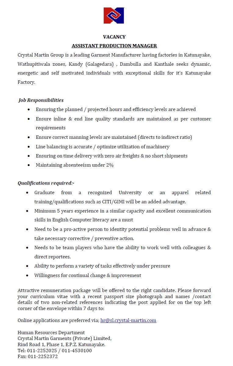 apparel production manager job description