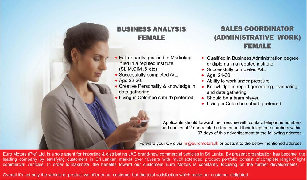 Sales Coordinator (Female) Job Vacancy in Sri Lanka