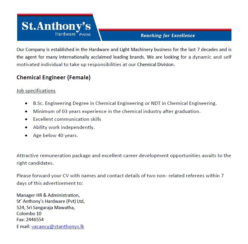 Chemical Engineer Female Job Vacancy In Sri Lanka
