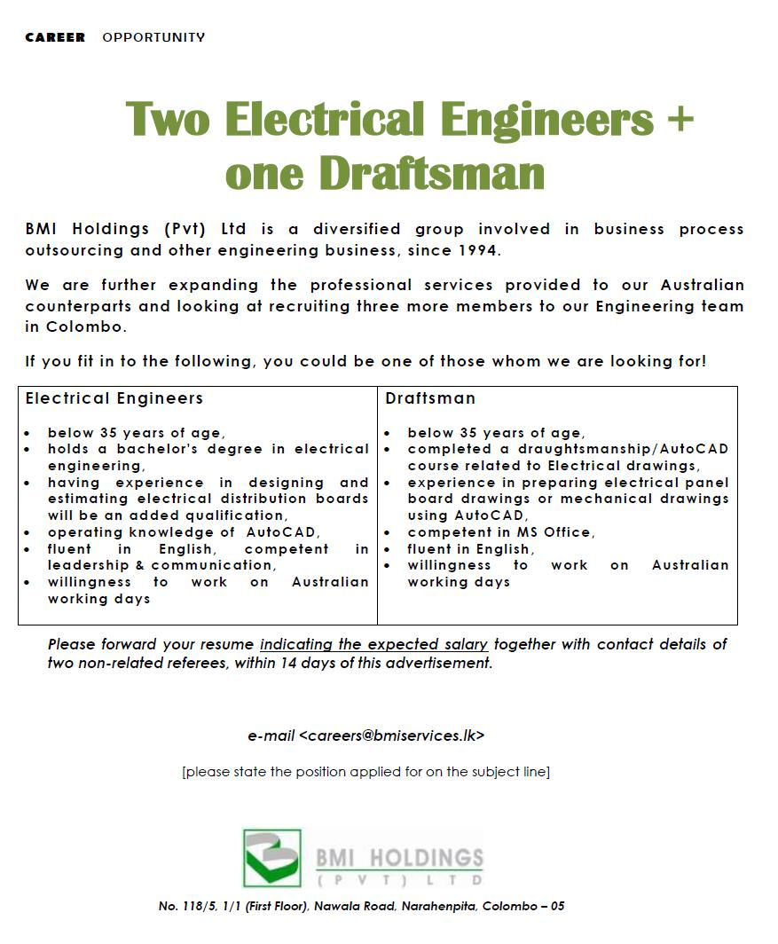 Electrical Engineers Draftsman Job Vacancy In Sri Lanka