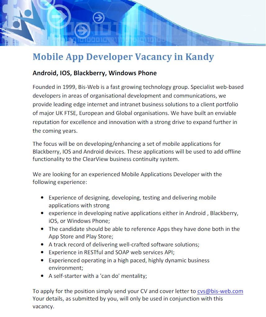... Developing, Testing And Delivering Mobile Applications With Strong  Experience In Developing Native Applications Either In Android , Blackberry,  IOS, ...