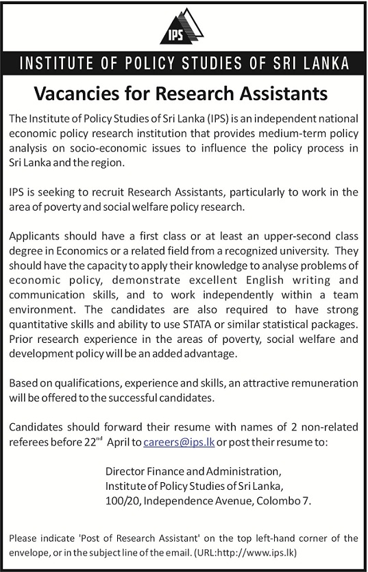 Research Assistants Job Vacancy In Sri Lanka