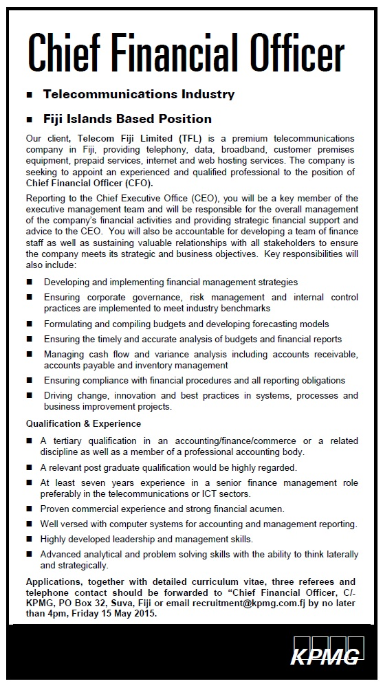 Chief Financial Officer Job Vacancy In Sri Lanka