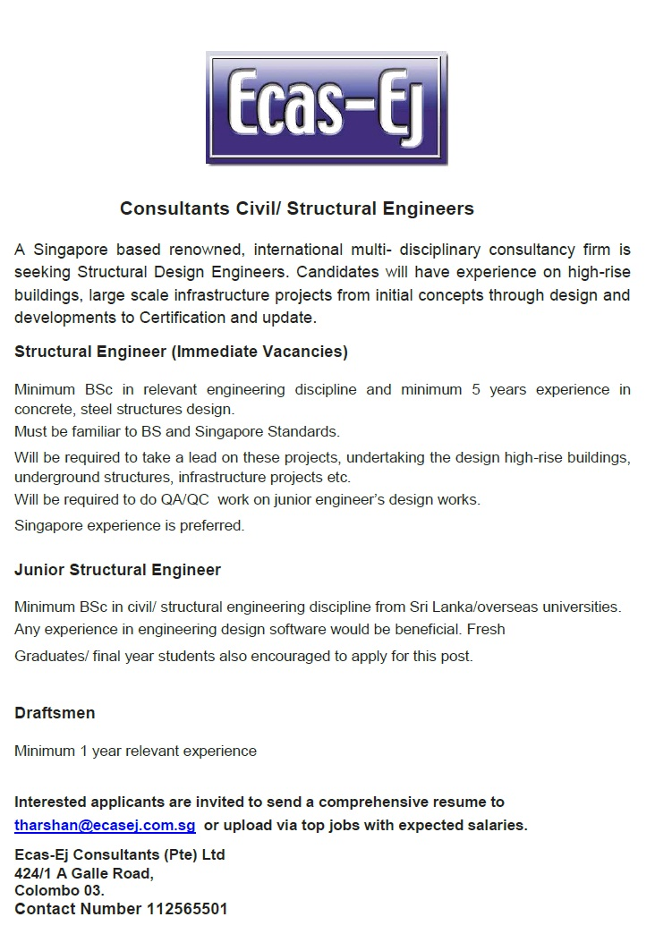 Structural Engineer  Junior Structural Engineer Job Vacancy In Sri