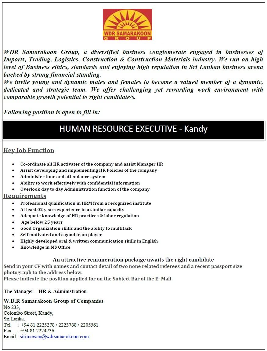 Human Resource Executive - Kandy