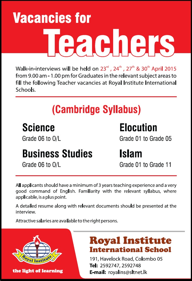 Teacher Vacancies Job Vacancy In Sri Lanka