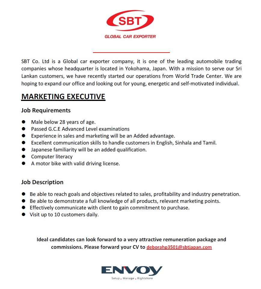 Passed G.C.E Advanced Level Examinations U2022 Experience In Sales And Marketing  Will Be An Added Advantage. U2022 Excellent Communication Skills To Handle ...