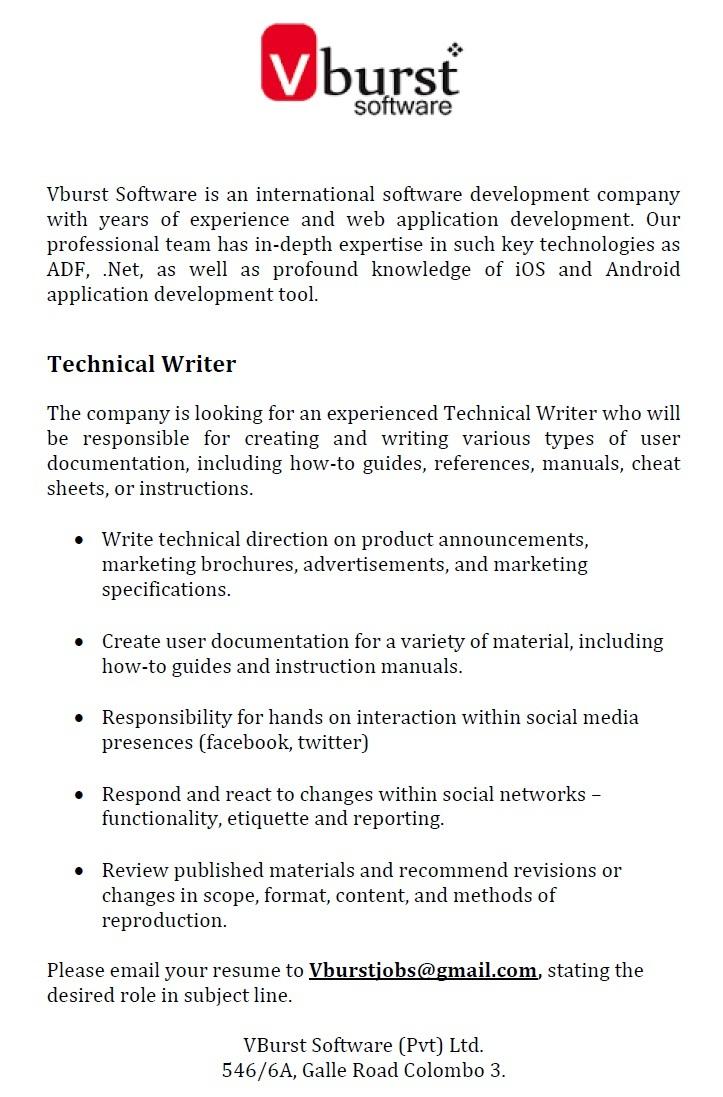 technical writer job vacancy in sri lanka rh dreamjobs lk instruction manual writing jobs Procedure Manual