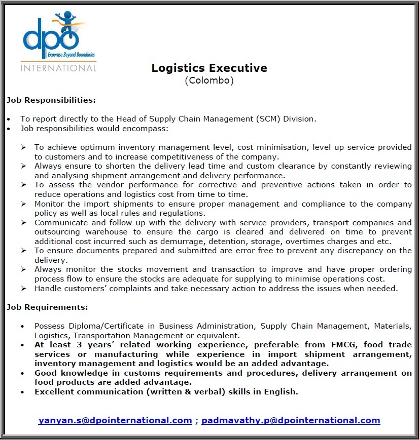 Logistics Executive Job Vacancy In Sri Lanka