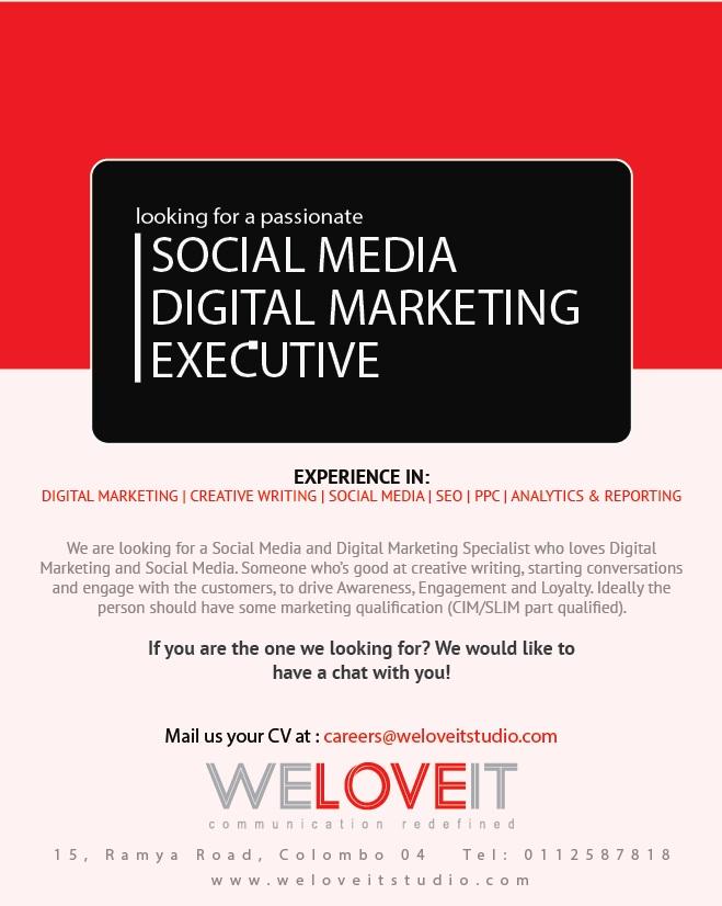 Social Media Digital Marketing Executive Job Vacancy in Sri Lanka – Social Media Marketing Job Description