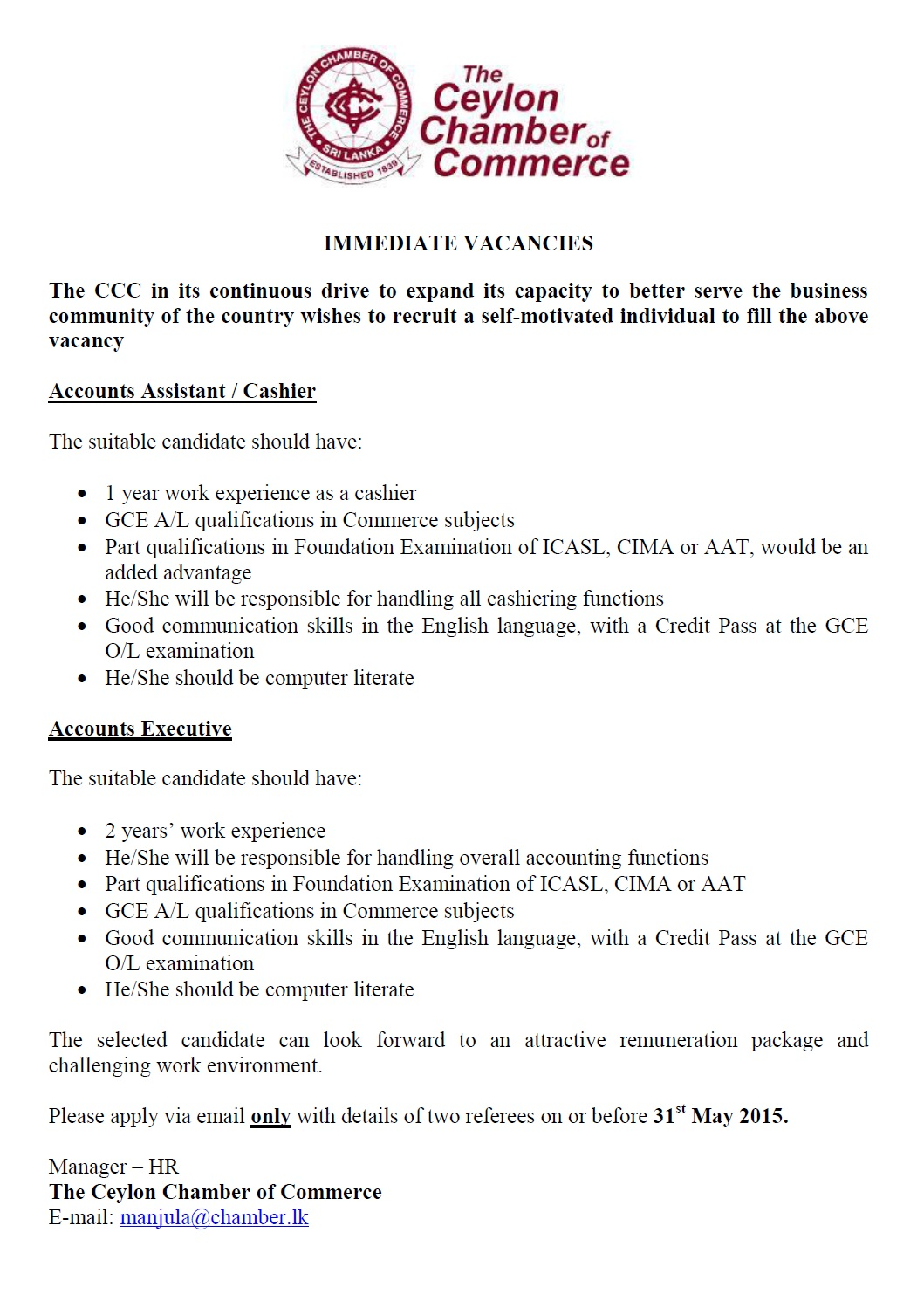 accounts assistant cashier accounts executive job vacancy in 20150521ei5qm2dzigyonqq jpg