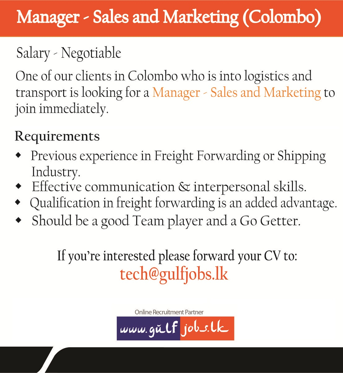 Sales and Marketing Manager - Colombo Job Vacancy in Sri Lanka
