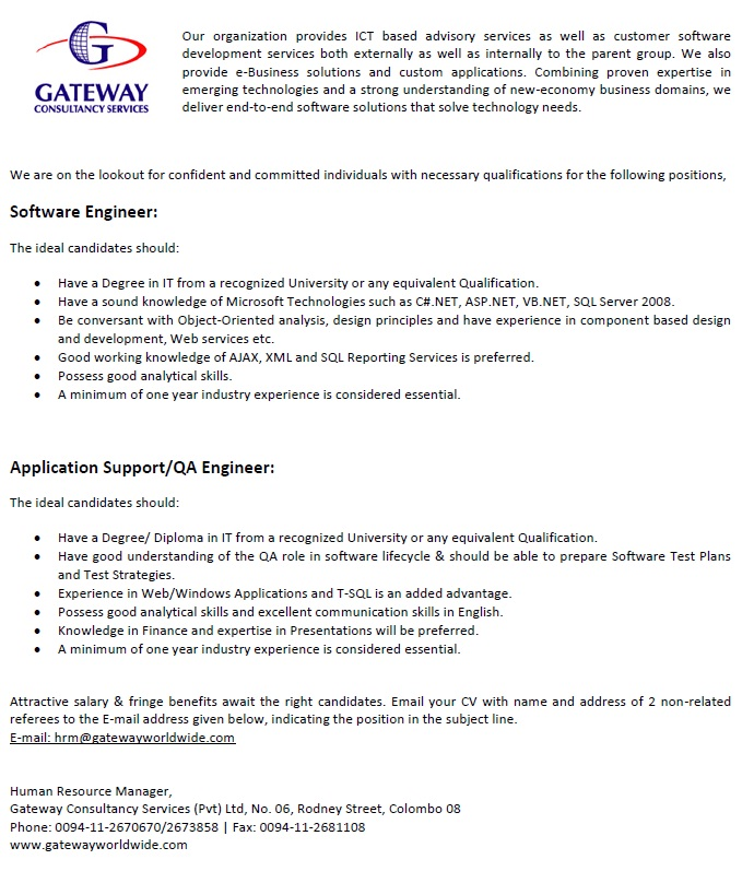 Software Engineer / Application Support / QA Engineer Job Vacancy in ...