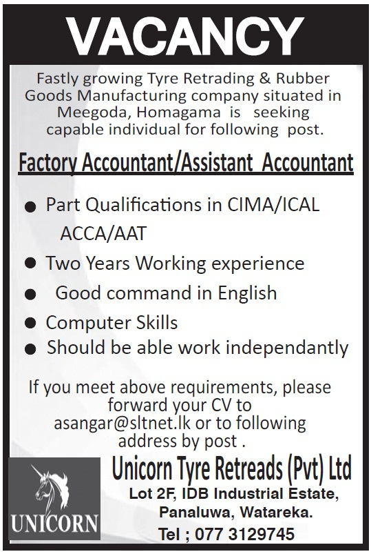 factory accountant    assistant accountant