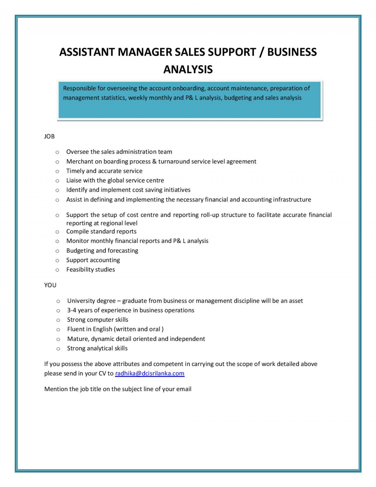 Job analysis assistant store managers at Homework Example