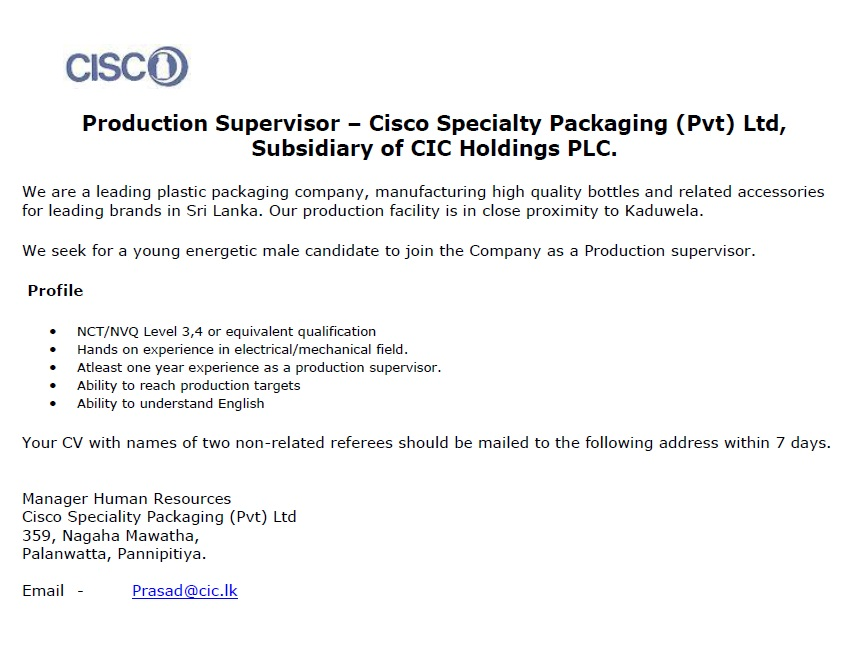 Production Supervisor Job Vacancy In Sri Lanka
