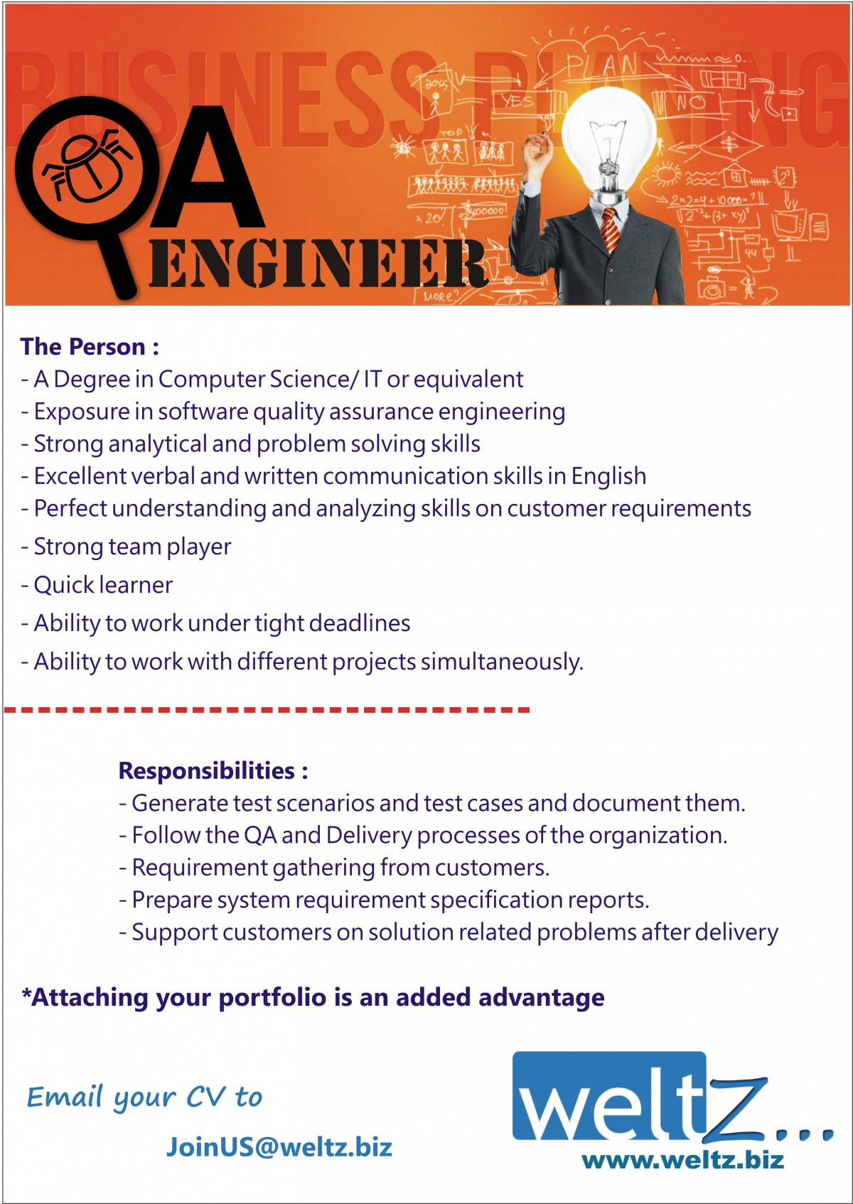 qa engineer job vacancy in sri lanka a degree in computer science it or equivalent exposure in software quality assurance engineering strong analytical and problem solving skills