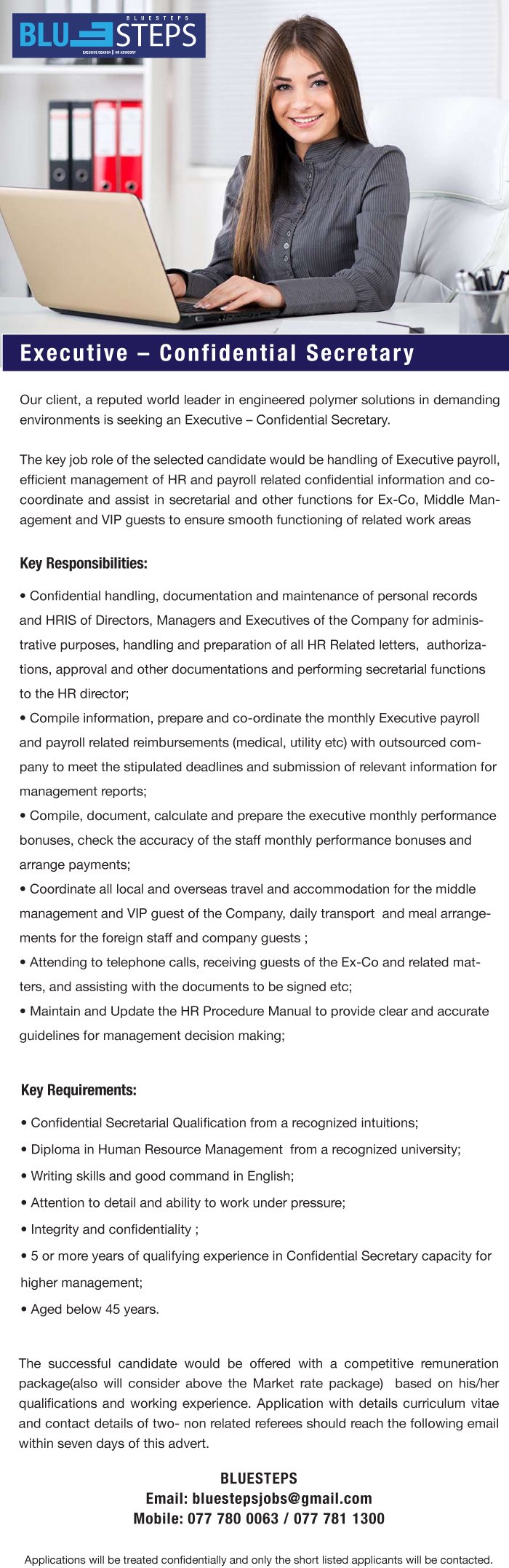 executive confidential secretary job vacancy in sri lanka resource management from a recognized university writing skills and good command in english attention to detail and ability to work under pressure