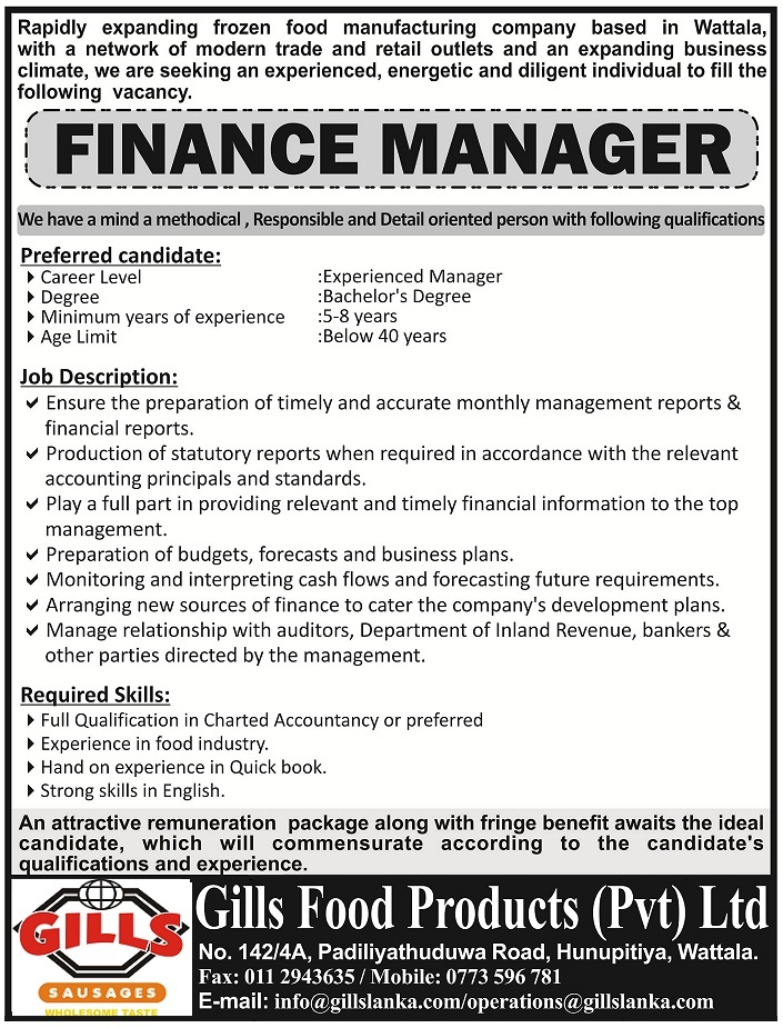 Vacancy Ethiopia Finance Manager Job Vacancy in Ethiopia