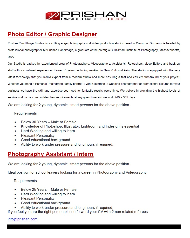 Photo Editor / Graphic Designer / Photography Assistant / Intern