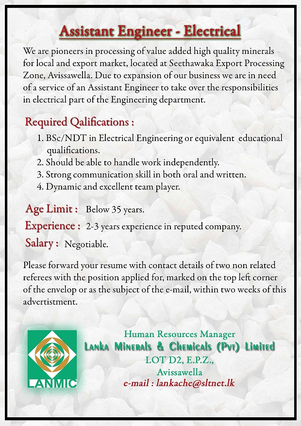 Assistant Engineer Electrical Job Vacancy In Sri Lanka