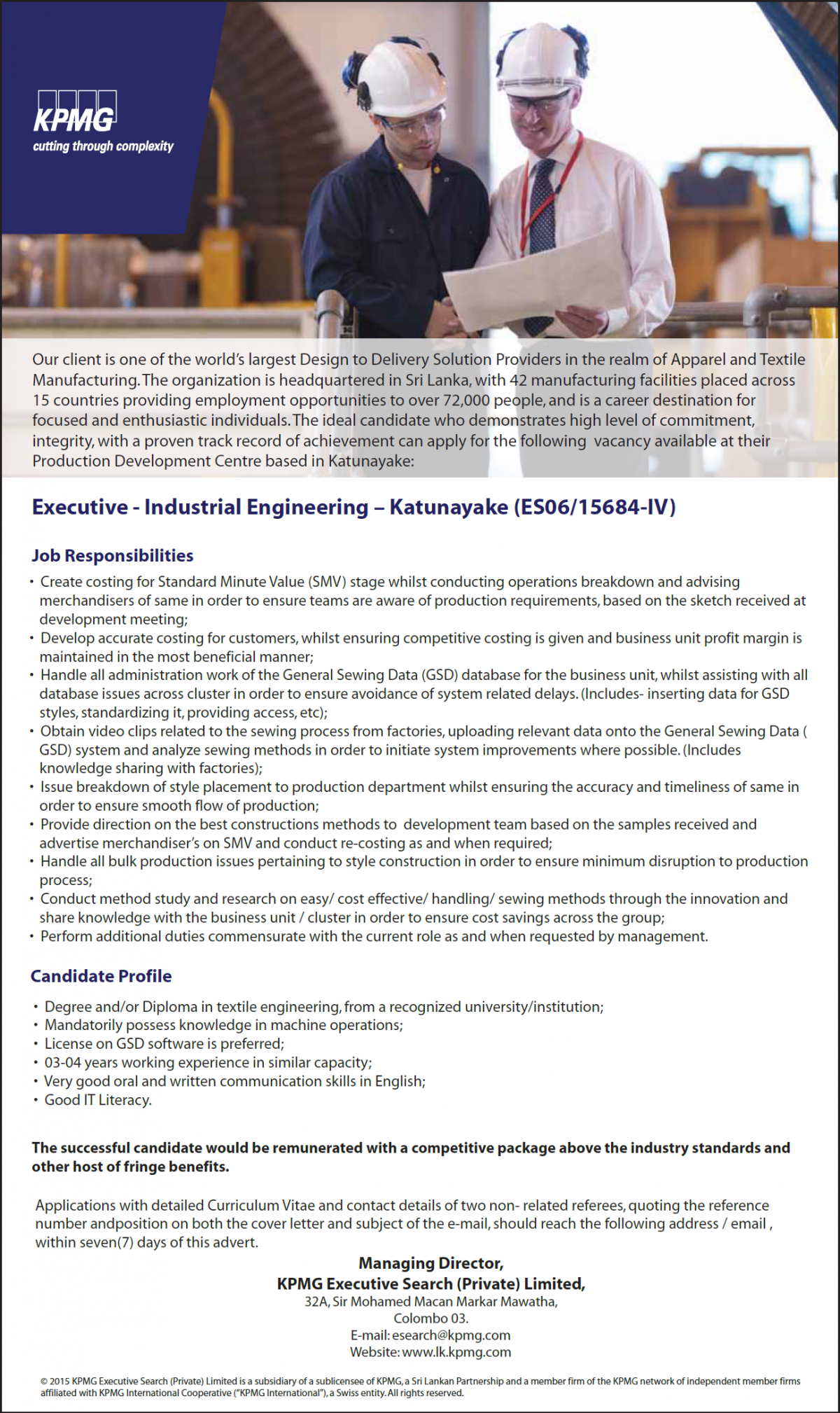 Degree And/or Diploma In Textile Engineering, From A Recognized  University/institution; U2022 Mandatorily Possess Knowledge In Machine  Operations; ...