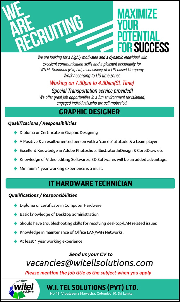 graphic designer diploma or certificate in graphic designing a positive a result oriented person with a can do attitude a team player - Hardware Technician Jobs