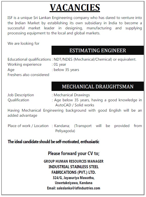 Estimating Engineer / Mechanical Draughtsman Job Vacancy In Sri Lanka