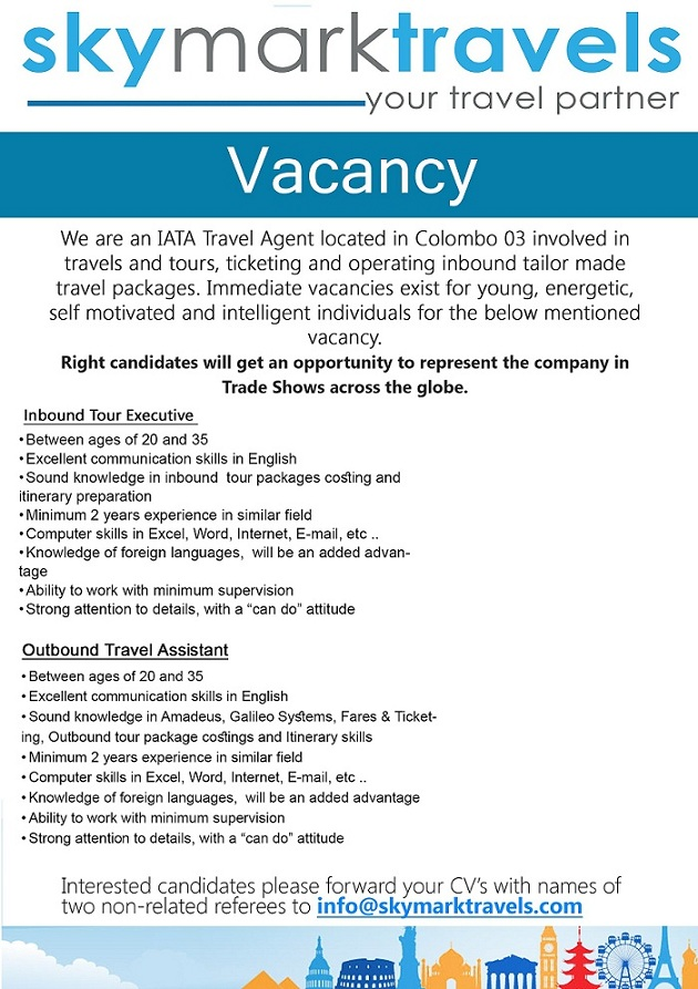Inbound Tour Executive / Outbound Travel Assistant Job Vacancy in ...