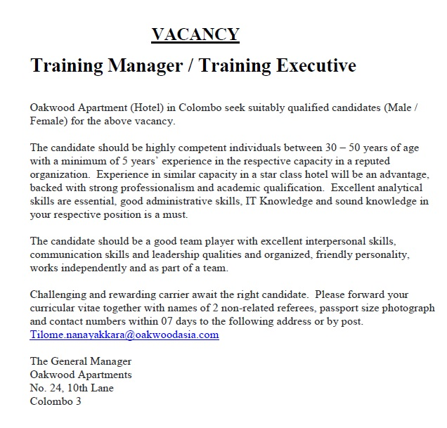 Training Manager Training Executive Job Vacancy In Sri Lanka