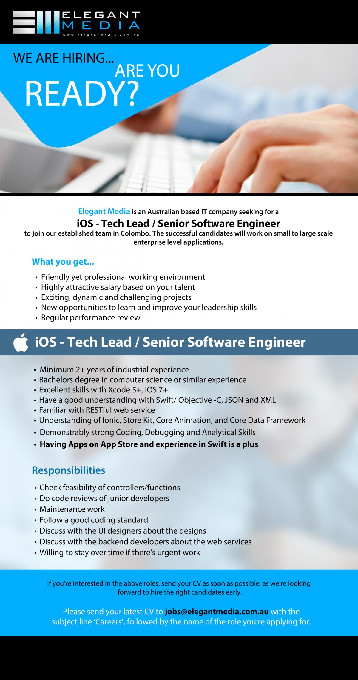 iOS - Techlead / Senior Software Engineer Job Vacancy in Sri Lanka