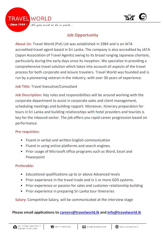 travel consultant job description