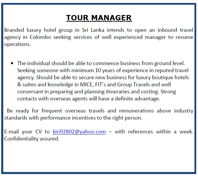 Tour Manager Job Vacancy In Sri Lanka