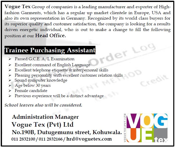 Trainee Purchasing Assistant Job Vacancy in Sri Lanka – Purchasing Assistant Job Description