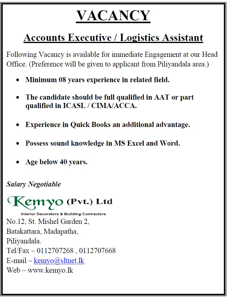 Accounts Executive  Logistics Assistant Job Vacancy In Sri Lanka