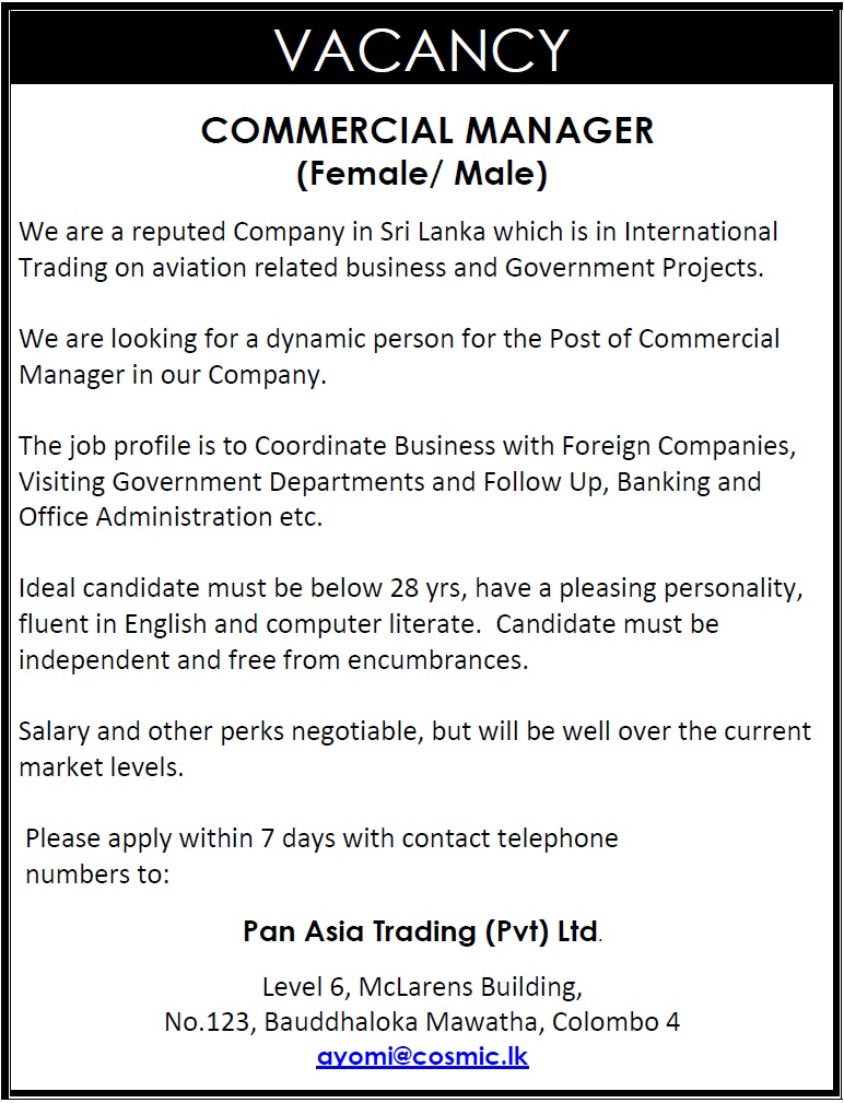 Commercial Manager Female  Male Job Vacancy In Sri Lanka