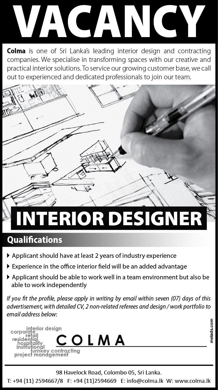 Interior Designer Job Vacancy In Sri Lanka