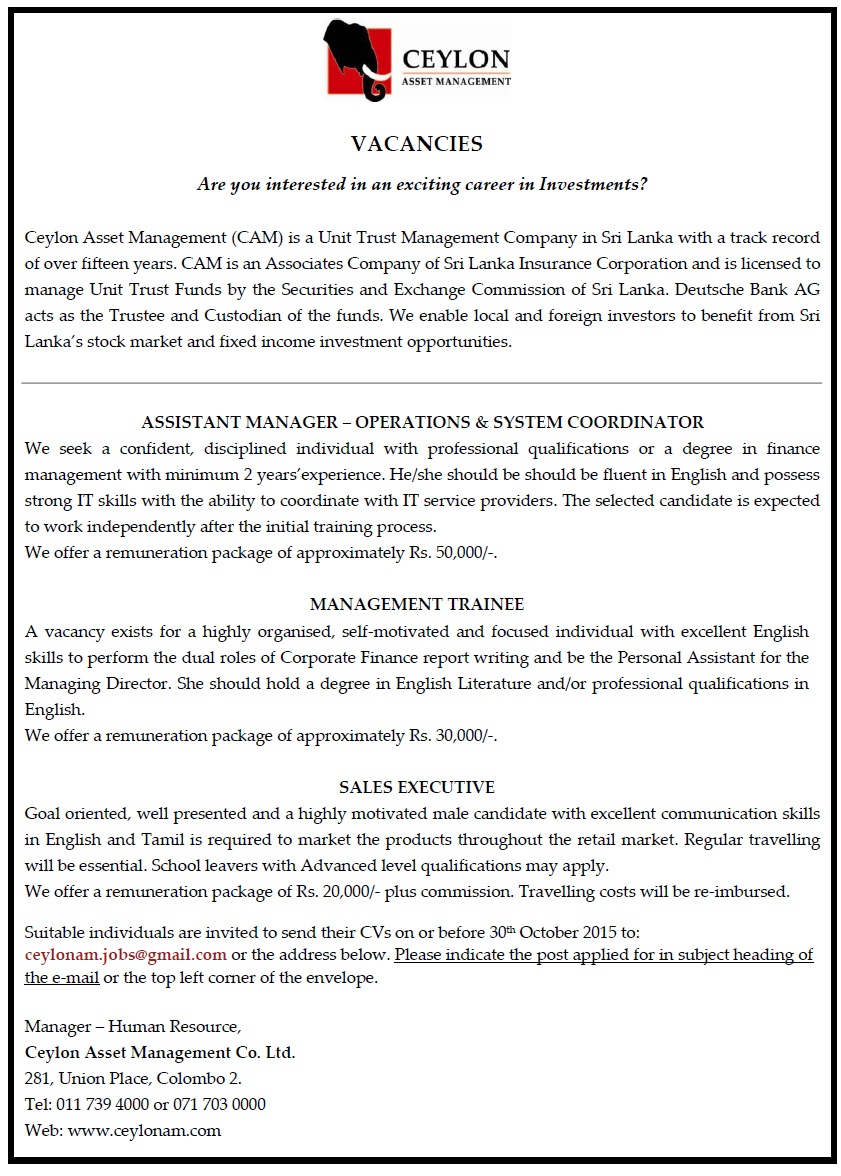 assistant manager operations management trainee job vacancy in assistant manager operations system coordinator we seek a confident disciplined individual professional qualifications or a degree in finance