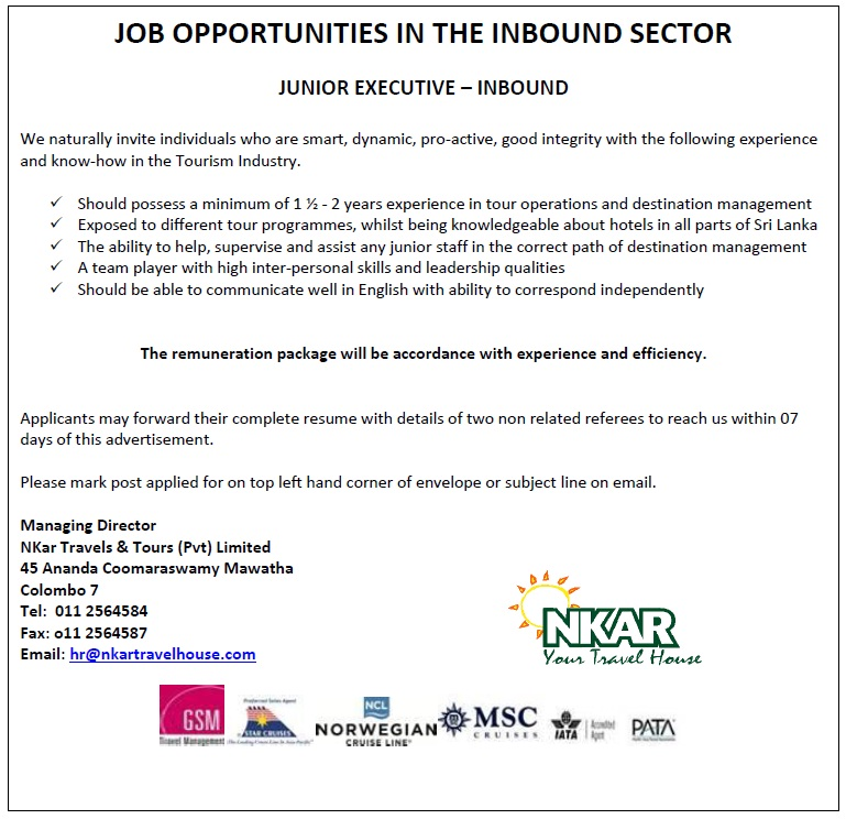 Junior Executive - Inbound Job Vacancy in Sri Lanka