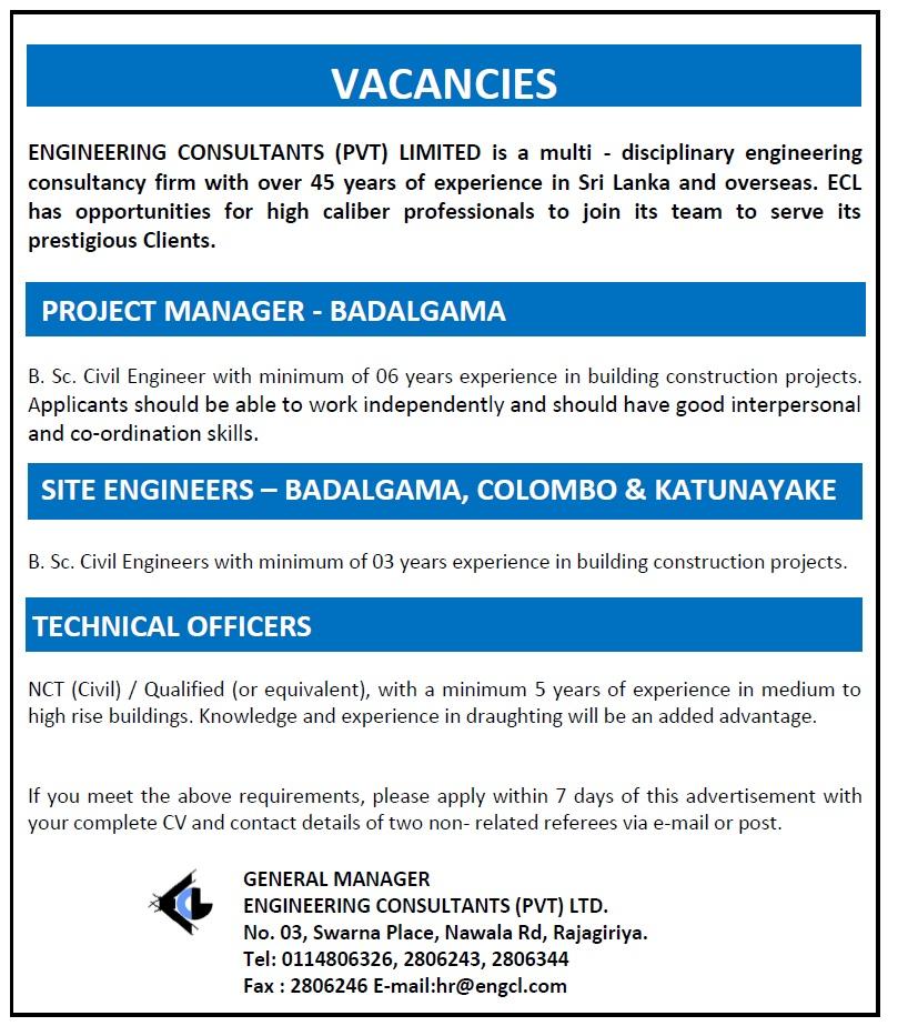 Project Manager - Badalgama / Site Engineers - Badalgama