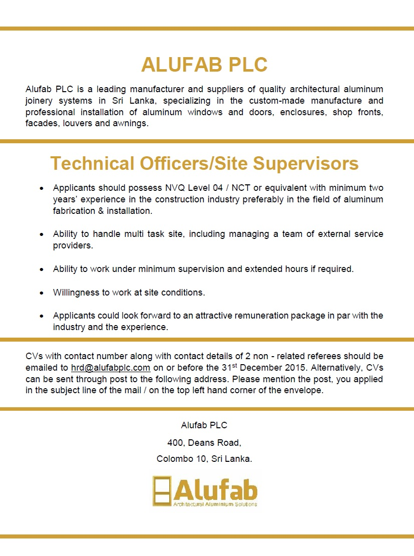 Technical Officers / Site Supervisors