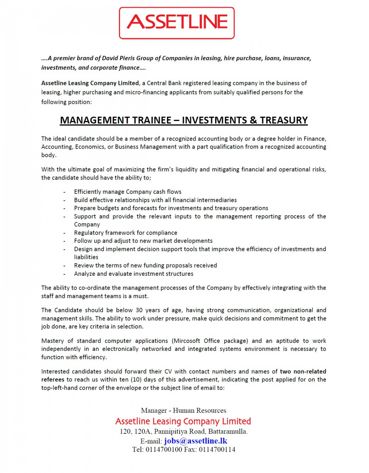 management trainee investment treasury job vacancy in sri lanka the candidate should be below 30 years of age having strong communication organizational and management skills the ability to work under pressure
