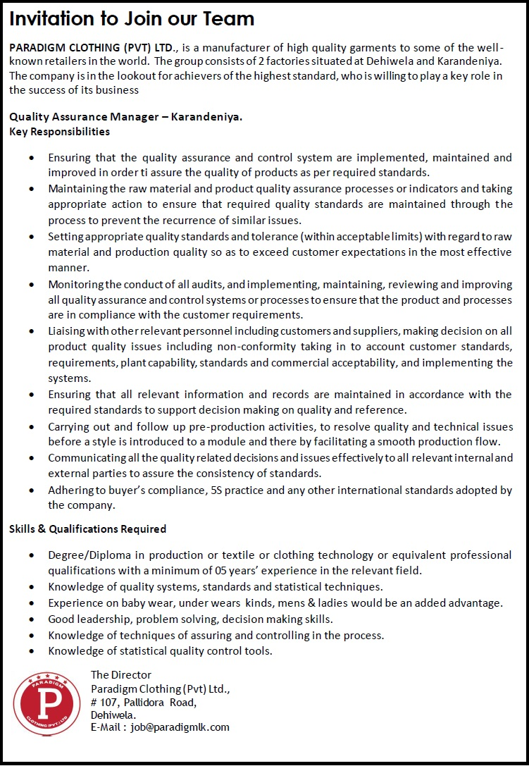 Quality assurance manager karandeniya job vacancy in sri lanka degreediploma in production or textile or clothing technology or equivalent professional qualifications with a minimum of 05 years experience in the stopboris Images