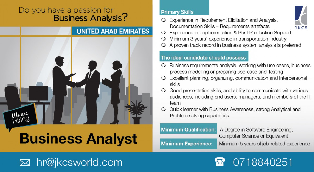 business analyst job vacancy in sri lanka the ideal candidate should possess business requirements analysis working use cases business process modelling or preparing use case and testing
