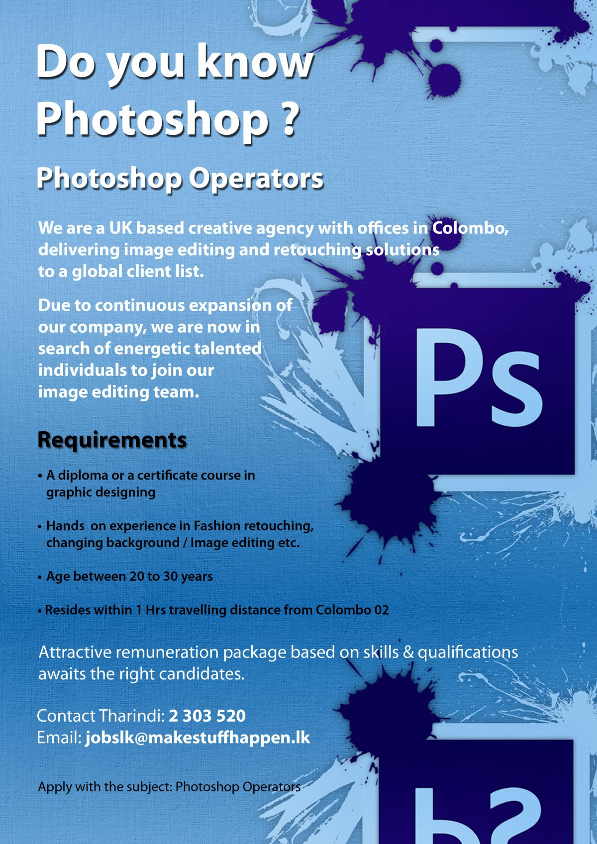Photoshop operators job vacancy in sri lanka requirements a diploma or a certificate course in graphic designing hands on experience in fashion retouching changing background image editing etc 1betcityfo Images