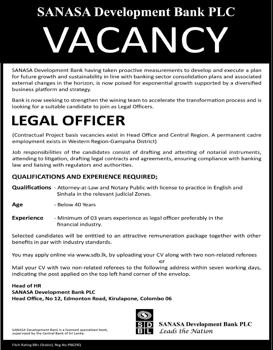 Legal officer job vacancy in sri lanka - Role of compliance officer in bank ...